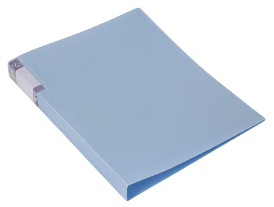 Папка с метал.пруж.скоросш. Бюрократ Gems GEM07PAZURE A4 пластик 0.7мм торц.карм с бум. встав голубо
