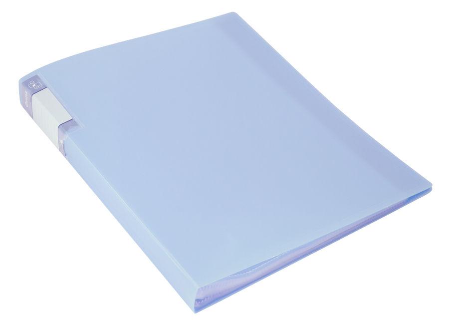 Папка с 20 прозр.вклад. Бюрократ Gems GEM20AZURE A4 пластик 0.7мм торц.карм с бум. встав голубой топ