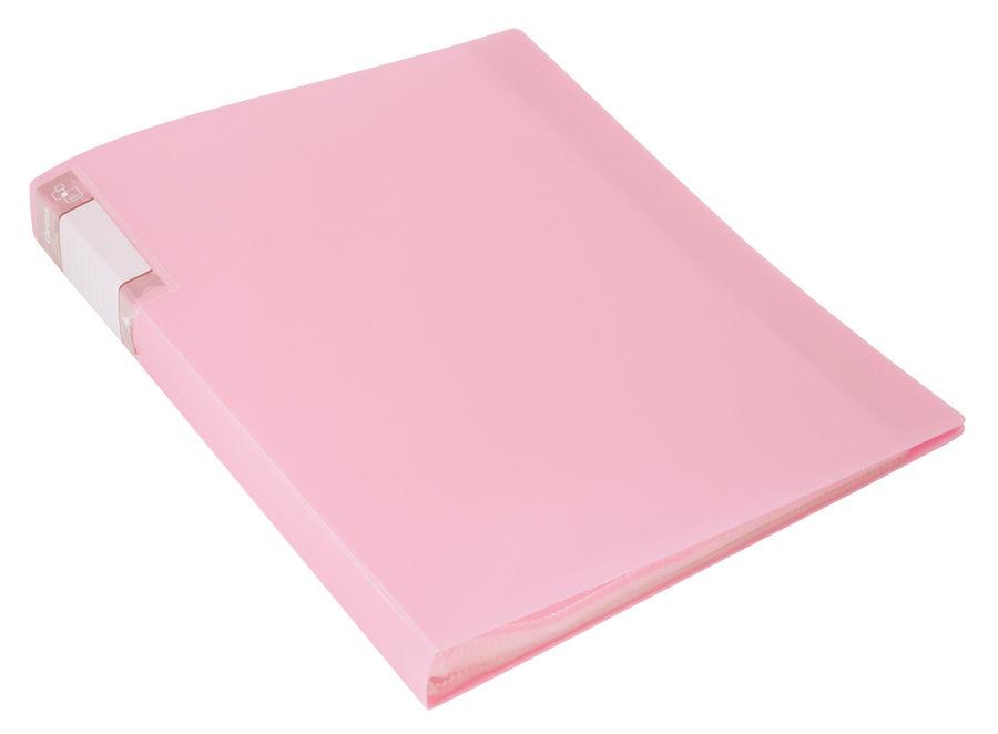 Папка с 20 прозр.вклад. Бюрократ Gems GEM20PIN A4 пластик 0.7мм торц.карм с бум. встав розовый амети