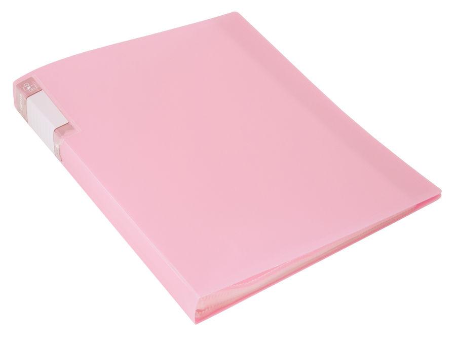 Папка с 60 прозр.вклад. Бюрократ Gems GEM60PIN A4 пластик 0.7мм торц.карм с бум. встав розовый амети