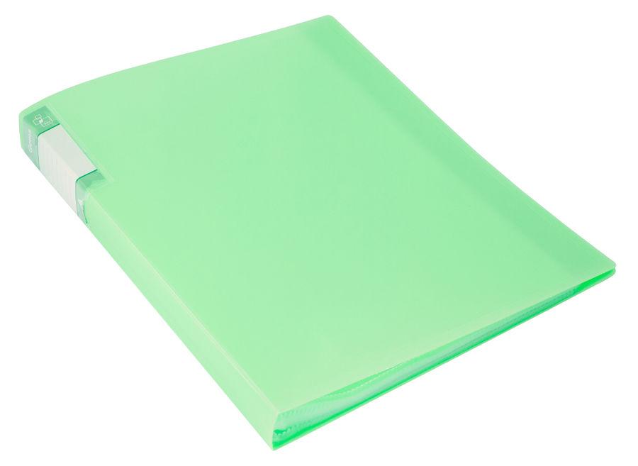 Папка с 60 прозр.вклад. Бюрократ Gems GEM60GRN A4 пластик 0.7мм торц.карм с бум. встав зеленый турма