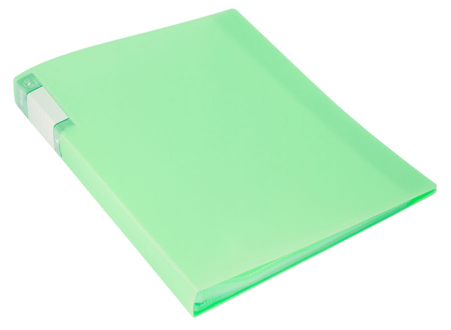 Папка с 40 прозр.вклад. Бюрократ Gems GEM40GRN A4 пластик 0.7мм торц.карм с бум. встав зеленый турма