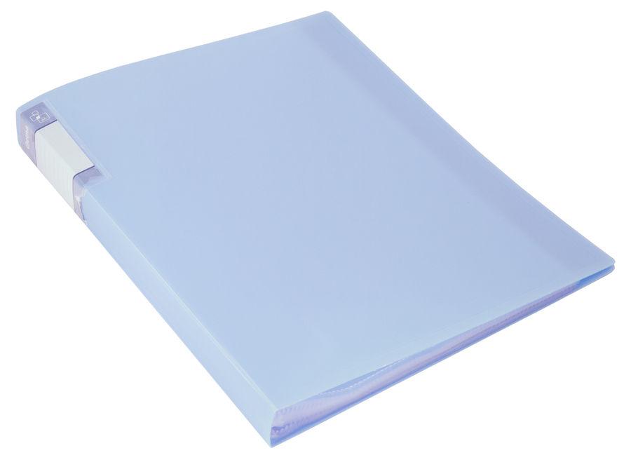 Папка с 40 прозр.вклад. Бюрократ Gems GEM40AZURE A4 пластик 0.7мм торц.карм с бум. встав голубой топ