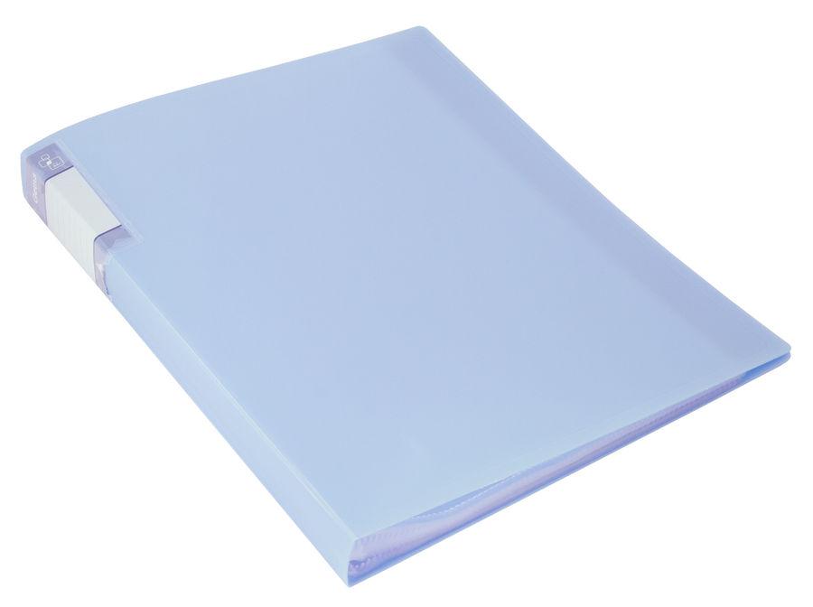 Папка с 60 прозр.вклад. Бюрократ Gems GEM60AZURE A4 пластик 0.7мм торц.карм с бум. встав голубой топ