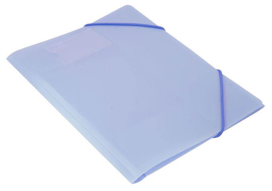 Папка на резинке Бюрократ Gems GEMPR05AZURE A4 пластик кор.30мм 0.5мм голубой топаз карман для визит
