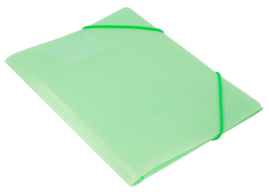 Папка на резинке Бюрократ Gems GEMPR05GRN A4 пластик кор.30мм 0.5мм зеленый турмалин карман для визи