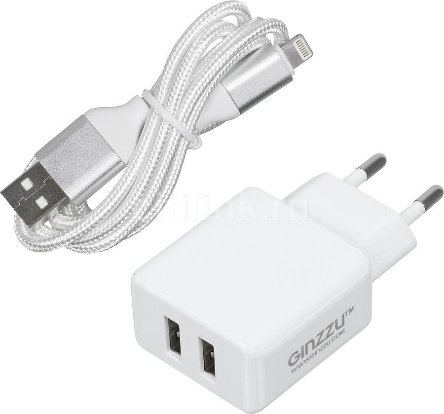 Сетевое зарядное устройство GINZZU GA-3313UW,  2xUSB,  8-pin Lightning (Apple),  3.1A,  белый