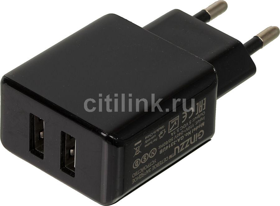 Сетевое зарядное устройство GINZZU GA-3314UB,  2xUSB,  USB type-C,  3.1A,  черный