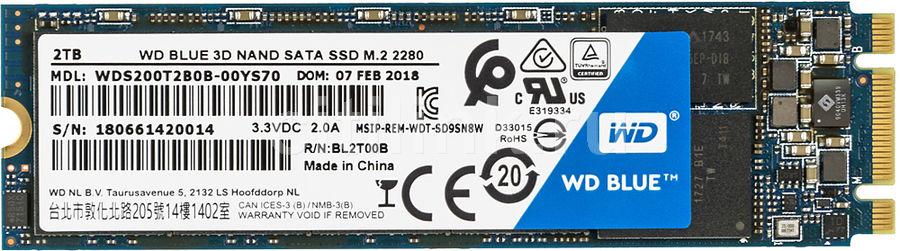 SSD накопитель WD Blue WDS200T2B0B 2Тб, M.2 2280, SATA III