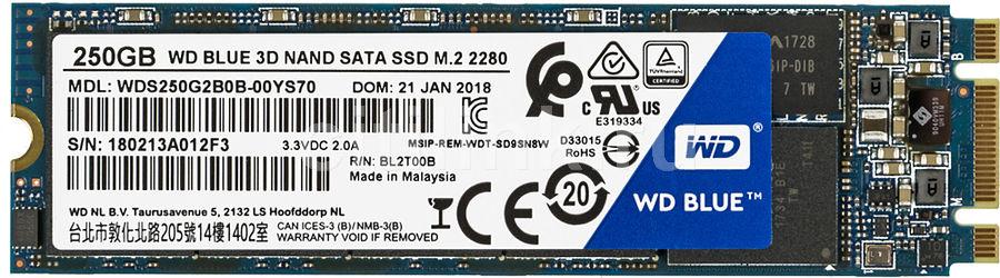 SSD накопитель WD Blue WDS250G2B0B 250Гб, M.2 2280, SATA III