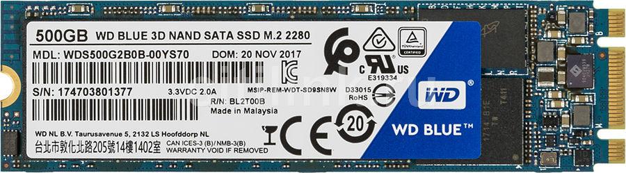 SSD накопитель WD Blue WDS500G2B0B 500Гб, M.2 2280, SATA III
