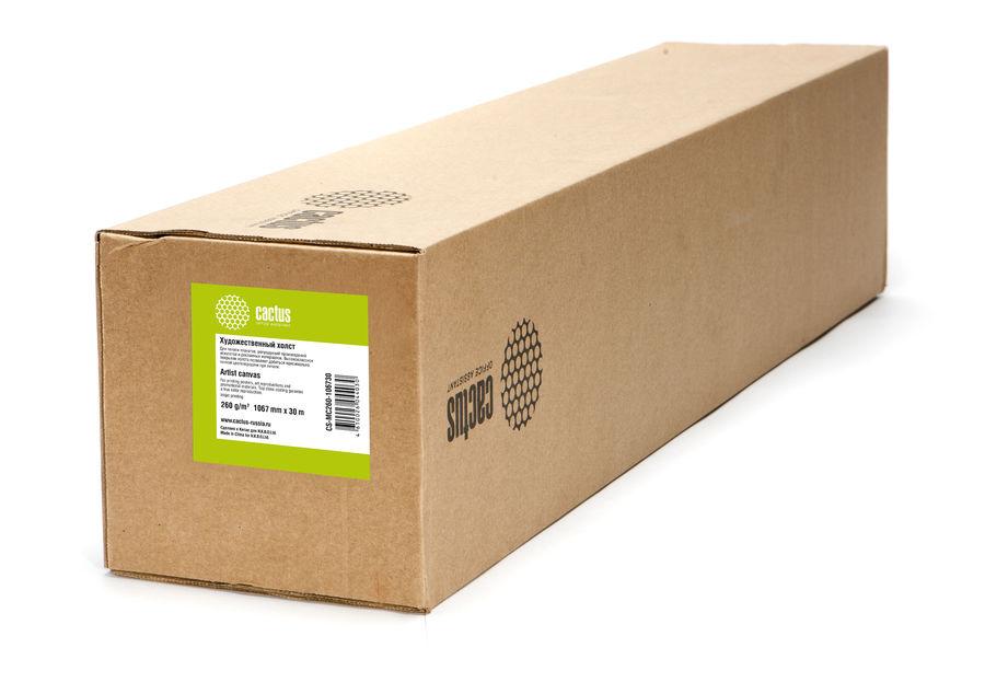 """Холст Cactus CS-MC260-106730 1067мм-30м/260г/м2/белый для струйной печати втулка:50.8мм (2"""")"""