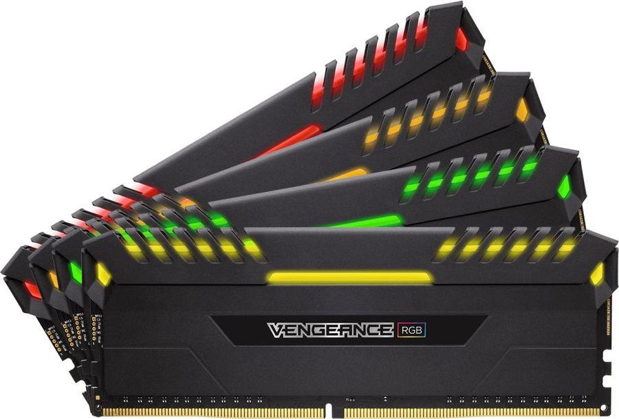 Модуль памяти CORSAIR Vengeance RGB CMR64GX4M4A2666C16 DDR4 -  4x 16Гб 2666, DIMM,  Ret