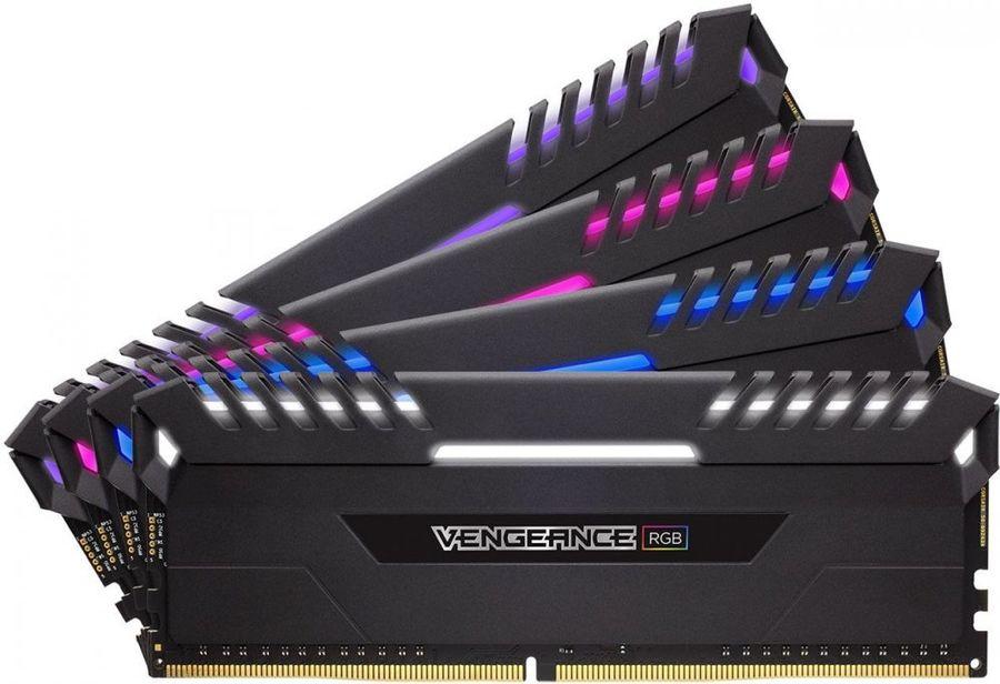 Модуль памяти CORSAIR Vengeance RGB CMR64GX4M4C3466C16 DDR4 -  4x 16Гб 3466, DIMM,  Ret