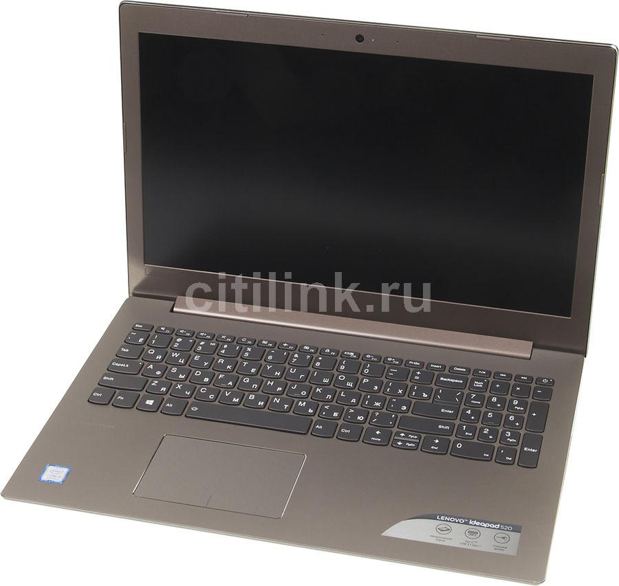 "Ноутбук LENOVO IdeaPad 520-15IKB, 15.6"",  IPS, Intel  Core i5  8250U 1.6ГГц, 8Гб, 256Гб SSD,  Intel HD Graphics  620, DVD-RW, Free DOS, 81BF00G3RU,  бронзовый"
