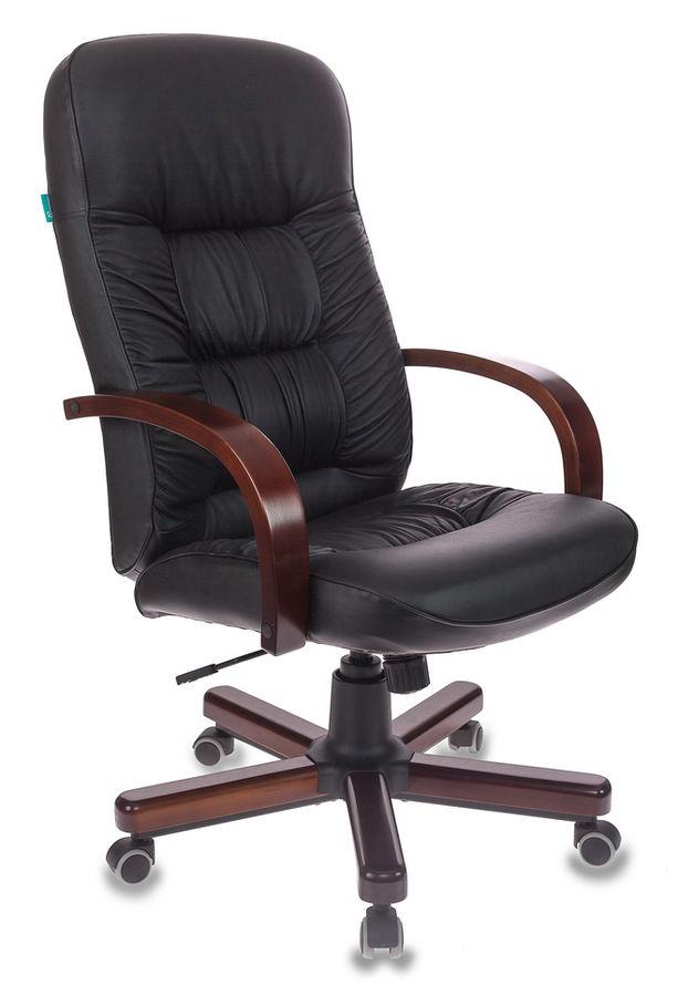 Кресло руководителя БЮРОКРАТ T-9908, на колесиках, кожа, черный [t-9908/walnut]