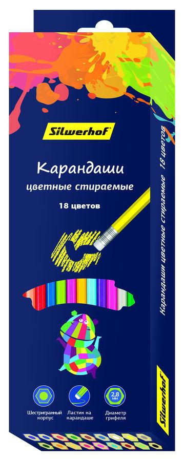 Карандаши цветные Silwerhof 134209-18 Цветландия шестигран. 18цв. ластик коробка/европод.
