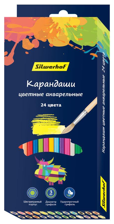 Карандаши цветные Silwerhof 134213-24 Цветландия шестигран. 24цв. акварельный эффект коробка/европод