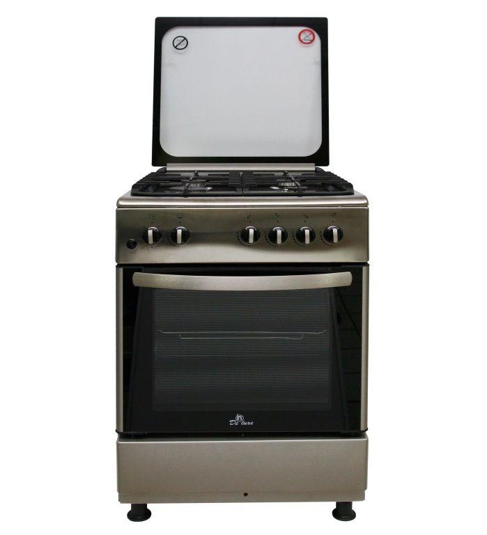 Газовая плита DE LUXE 606040.24-000г (кр) ЧР,  газовая духовка,  нержавеющая сталь
