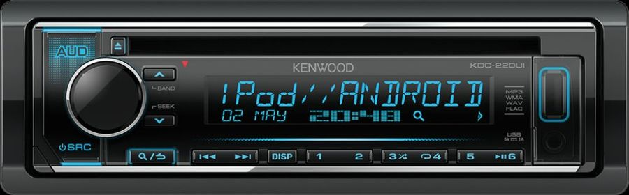 Автомагнитола KENWOOD KDC-220UI, USB автомагнитола kenwood kdc 151ry usb mp3 cd fm 1din 4х50вт черный