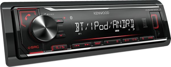 Автомагнитола KENWOOD KMM-BT204, USB автомагнитола kenwood kmm 103ay usb mp3 fm 1din 4х50вт черный