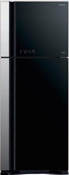 Холодильник HITACHI R-VG 542 PU3 GBK,  двухкамерный,  черное стекло