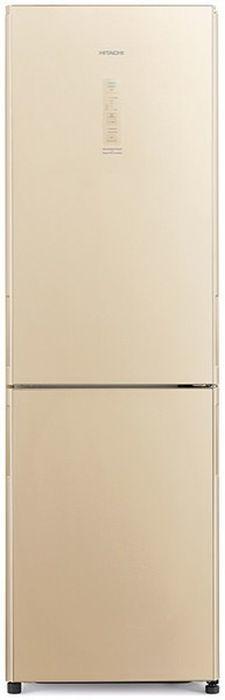 Холодильник HITACHI R-BG410 PU6X GBE,  двухкамерный, бежевый стекло