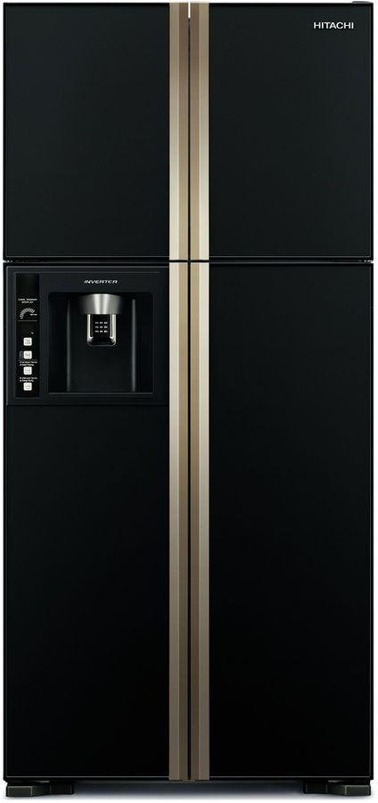 Холодильник HITACHI R-VG 662 PU3 GBK,  двухкамерный, черное стекло