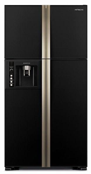 Холодильник HITACHI R-W 722 PU1 GBK,  двухкамерный, черное стекло