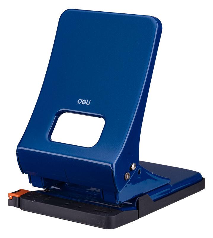Дырокол Deli E0143BLU макс.:45лист. металл синий отв.:2 с линейкой