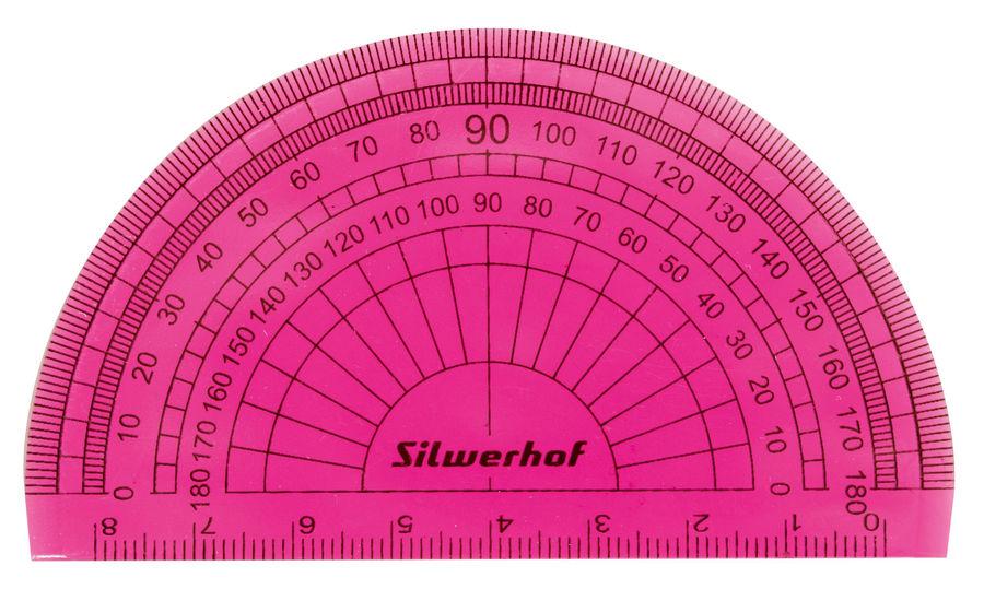 Транспортир Silwerhof 160160 Пластилиновая коллекция пластик дл.8см ассорти/прозрачный 180градус.