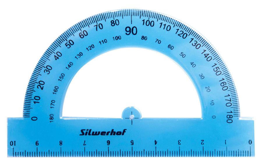 Транспортир Silwerhof 160161 пластик дл.10см ассорти/прозрачный 180градус.