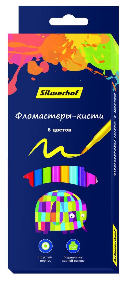 Фломастеры Silwerhof 877069-06 Цветландия кисть 6цв. коробка