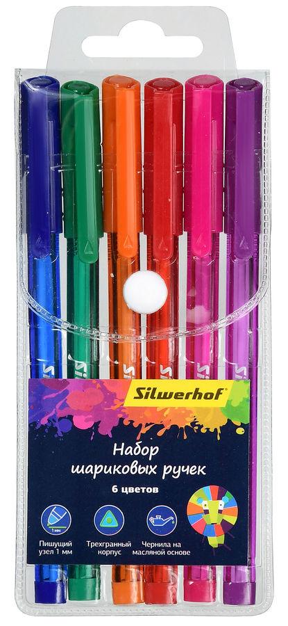 Набор шариковых ручек Silwerhof 026155-06 1мм 6цв. черн.на масл.основе ассорти блистер