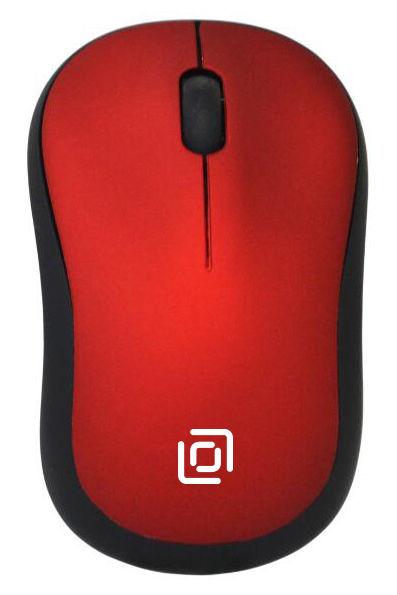Мышь OKLICK 655MW, оптическая, беспроводная, USB, черный и красный