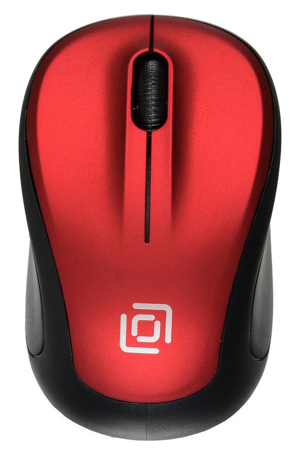 Мышь OKLICK 665MW оптическая беспроводная USB, черный и красный