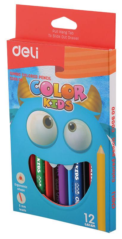Карандаши цветные Deli EC00600 Color Kids трехгран. 12цв. Jumbo коробка/европод.