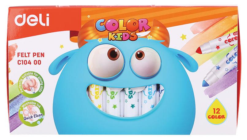 Фломастеры Deli EC10400 Color Kids смываемые 12цв. коробка картонная