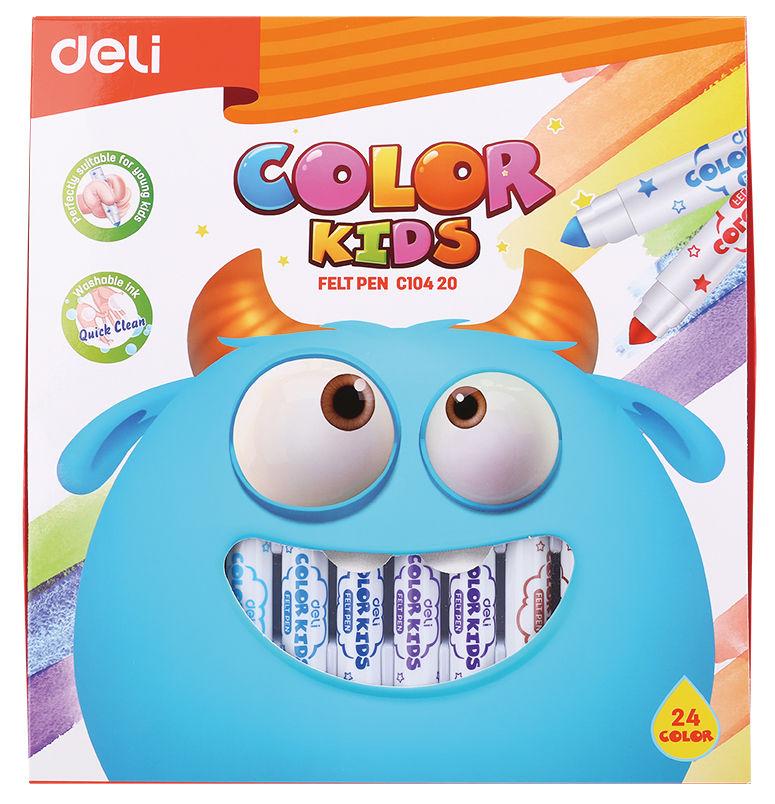 Фломастеры Deli EC10420 Color Kids смываемые 24цв. коробка картонная