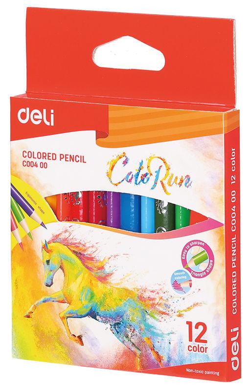 Карандаши цветные Deli EC00400 ColoRun трехгран. тополь 12цв. короткие коробка/европод.
