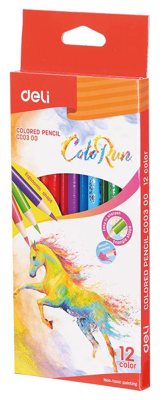 Карандаши цветные Deli EC00300 ColoRun трехгран. тополь 12цв. коробка/европод.
