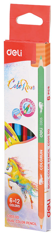 Карандаши цветные Deli EC00500 ColoRun липа 12цв. 2-х сторонние коробка/европод. (6шт)