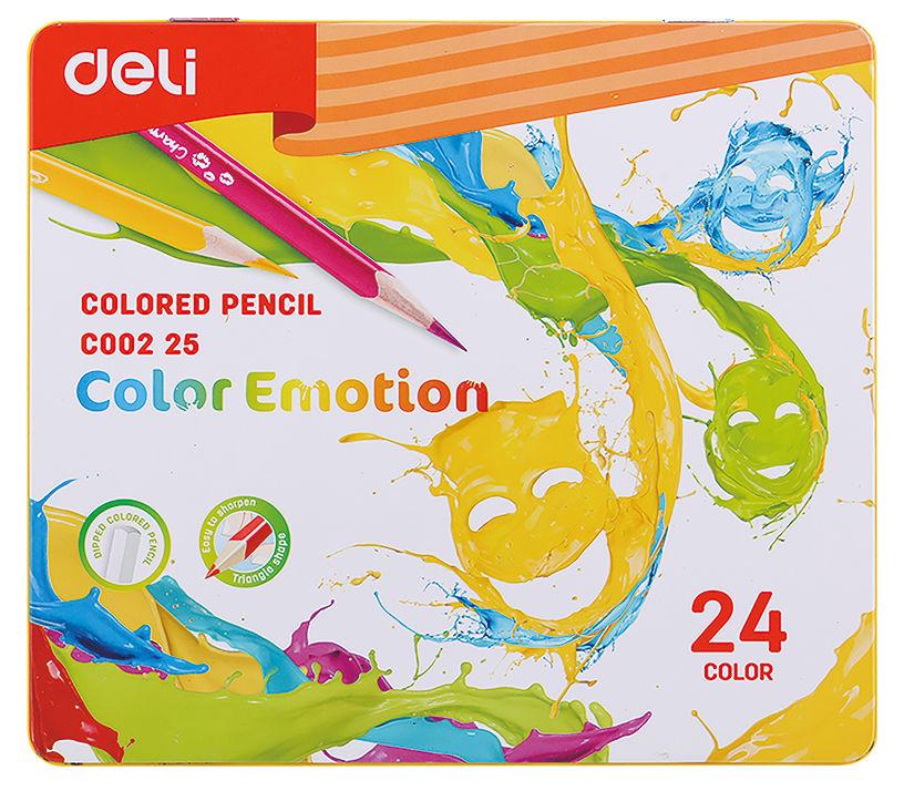 Карандаши цветные Deli EC00225 Color Emotion липа 24цв. мет.кор.