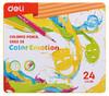 Карандаши цветные Deli EC00225 Color Emotion липа 24цв. мет.кор. вид 1