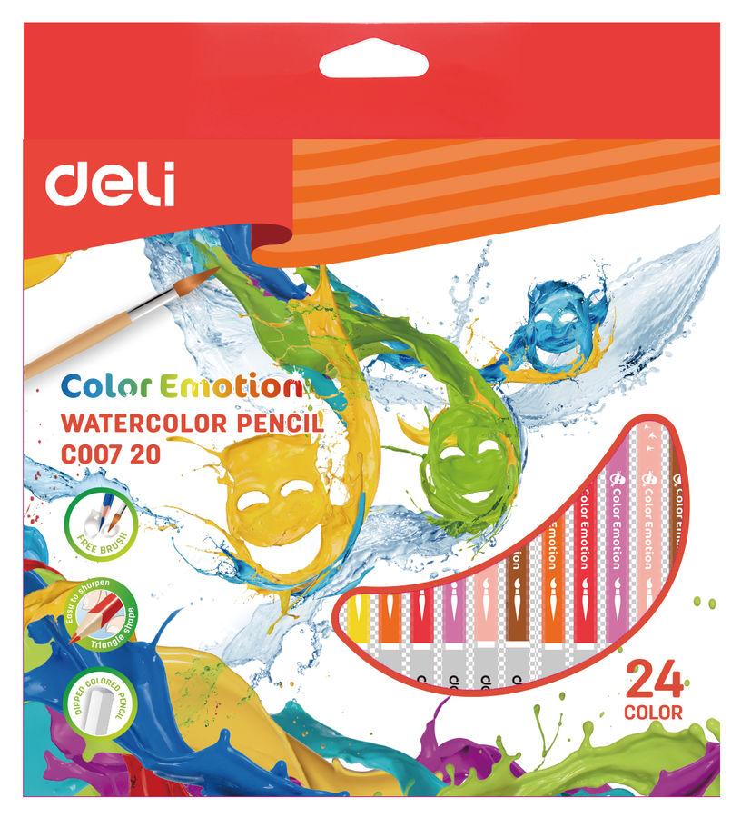 Карандаши цветные акварельные Deli EC00720 Color Emotion липа 24цв. коробка/европод.