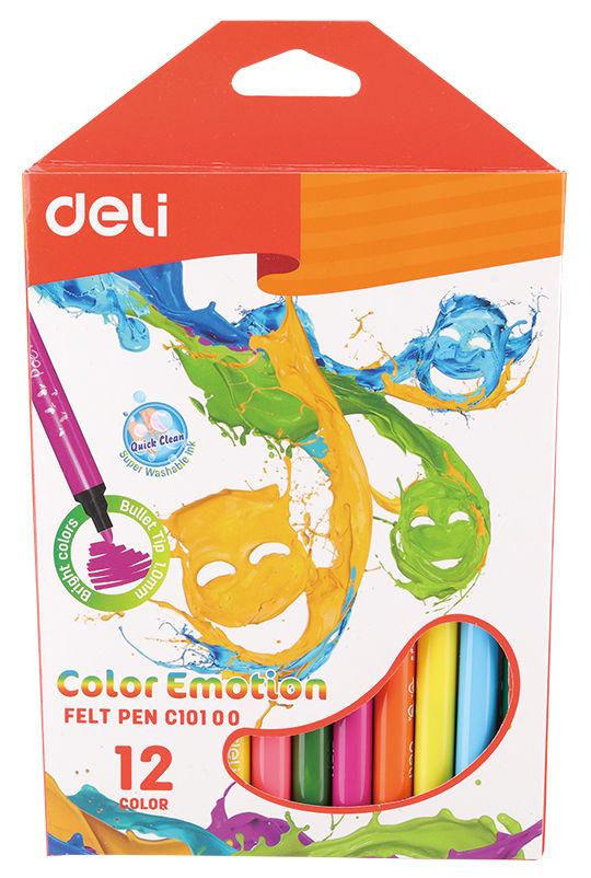 Фломастеры Deli EC10100 Color Emotion смываемые 12цв. коробка с европодвесом