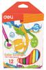 Фломастеры Deli EC10100 Color Emotion смываемые 12цв. коробка с европодвесом вид 1
