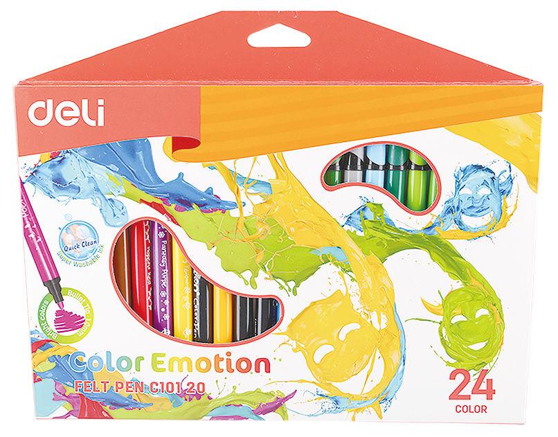 Фломастеры Deli EC10120 Color Emotion смываемые 24цв. коробка с европодвесом