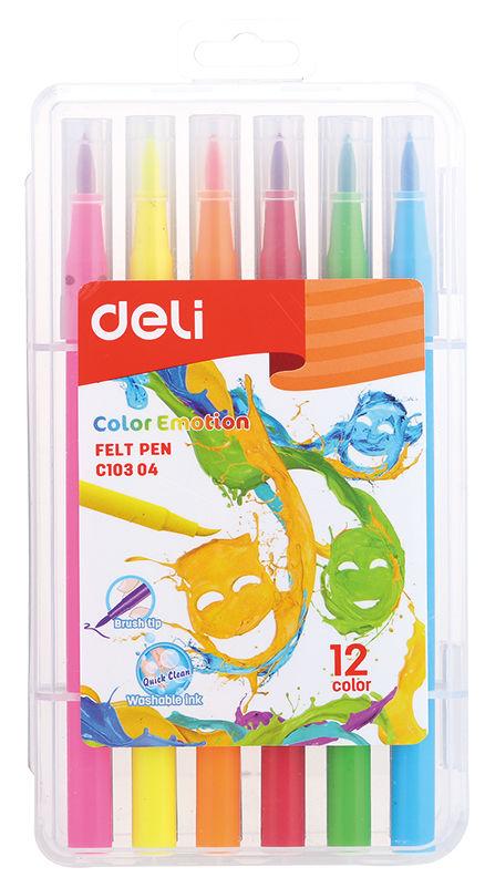 Фломастеры Deli EC10304 Color Emotion кисть смываемые 12цв. пластиковый пенал