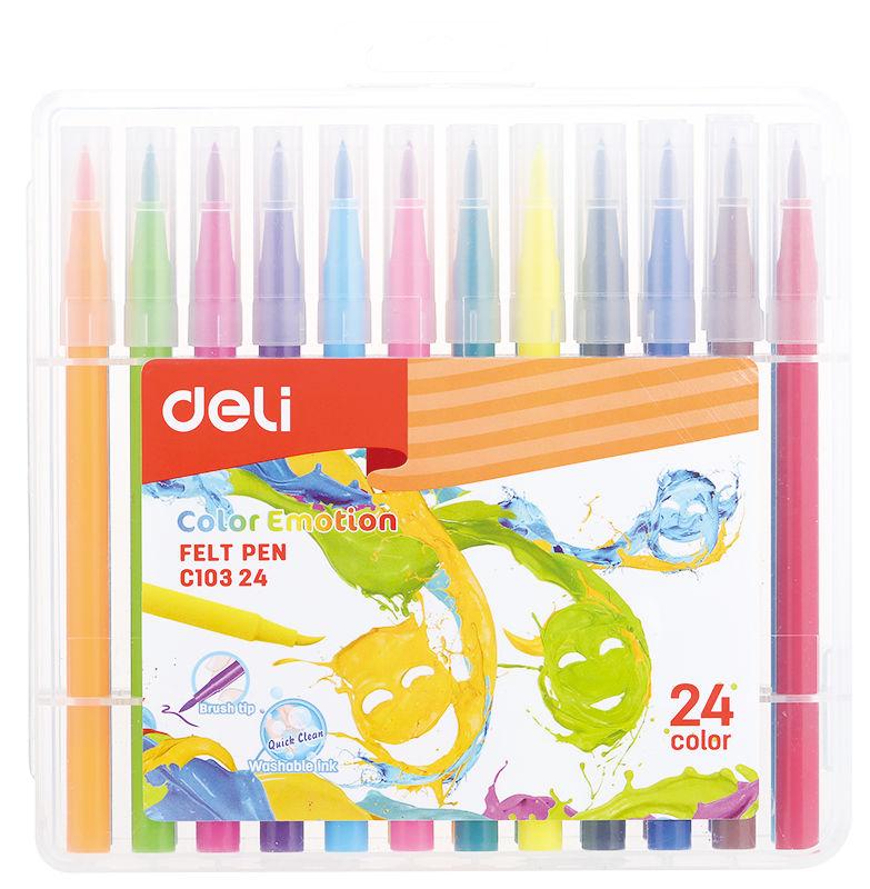 Фломастеры Deli EC10324 Color Emotion кисть смываемые 24цв. пластиковый пенал